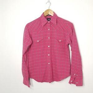 Girls Long Sleeve Button Down Shirt Pocket Small